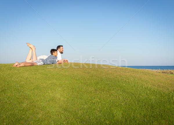 лучший отпуск отцом сына счастливым Летние каникулы Сток-фото © zurijeta