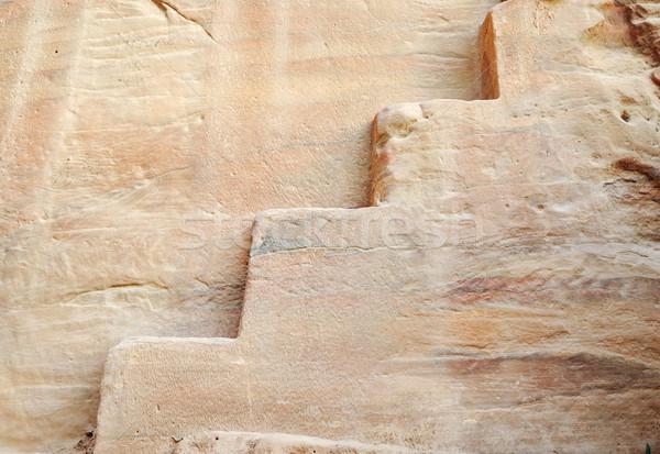 Oldest rock stairs, old nabatian culture, Petra, Jordan Stock photo © zurijeta