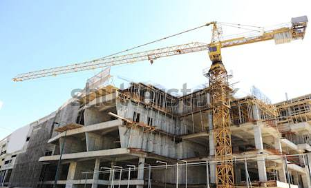 Stock photo: construction site with crane and building