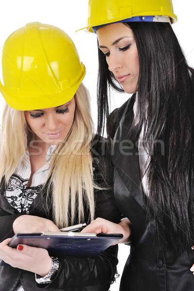 Stockfoto: Twee · architect · meisjes · schrijven · gebouw · werk