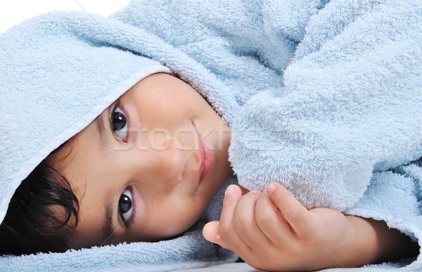 Gyönyörű boldog gyermekkor köntös izolált ártatlanság Stock fotó © zurijeta