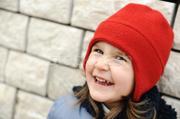 Foto stock: Adorável · little · girl · positivo · rosto · sorridente · menina · cara