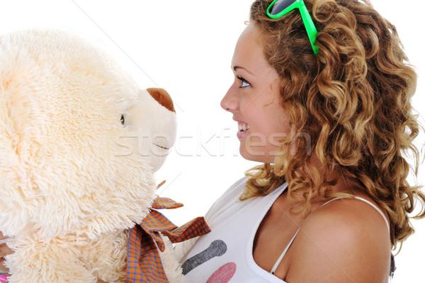 Tinilány tart plüssmaci nem név védjegy Stock fotó © zurijeta