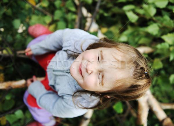 Szépség szőke baba fa levelek föld Stock fotó © zurijeta