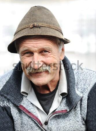старший смешные человека экспериментального Hat очки Сток-фото © zurijeta