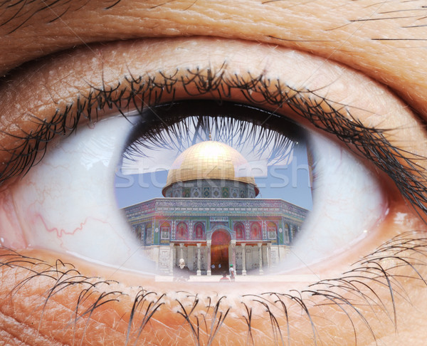 Closeup of human eye, macro mode with double exposure and Masjid Stock photo © zurijeta