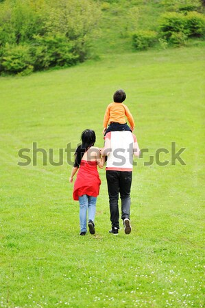Young family having a walk in the sun over the meadow on a bright summer day Stock photo © zurijeta