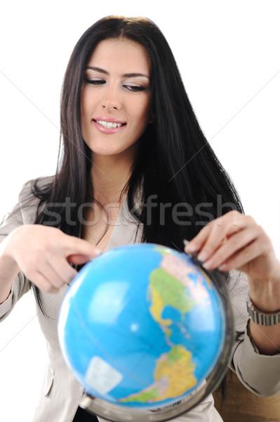 Genç güzel bir kadın işaret dünya iş el Stok fotoğraf © zurijeta