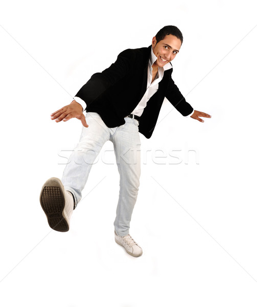 Fiatal lezser férfi egészalakos fehér yo Stock fotó © zurijeta