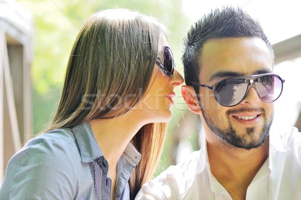 Belle petite amie chuchotement copain homme nature Photo stock © zurijeta
