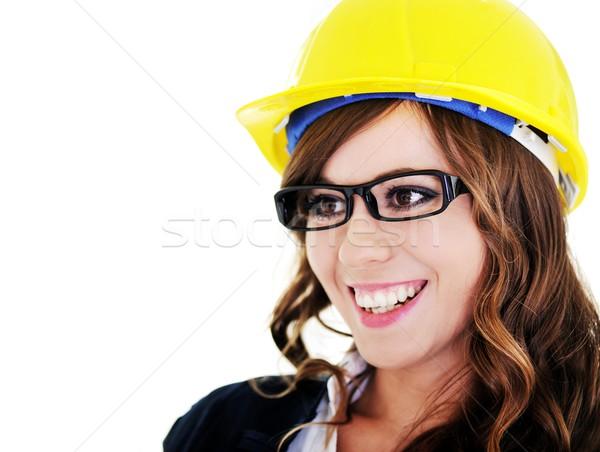 Head portrait of beautiful brunette woman with helmet and glasse Stock photo © zurijeta