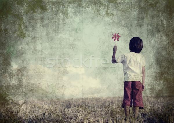 Kid Постоянный природы большой копия пространства Vintage Сток-фото © zurijeta