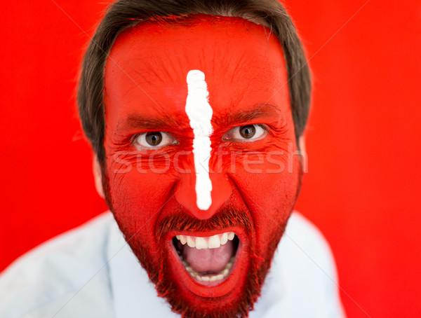 окрашенный человека красный лице белый линия Сток-фото © zurijeta