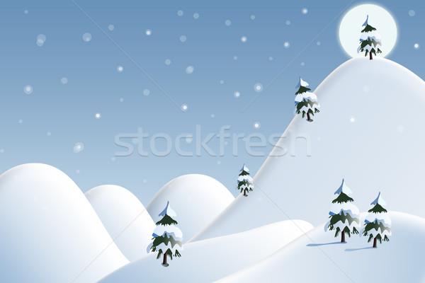 Card: winter landscape with white snowflakes and trees Stock photo © zurijeta