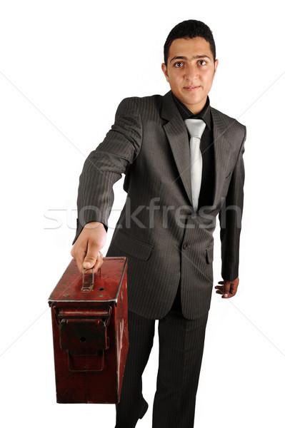 молодые деловой человек старые портфель счастливым бизнесмен Сток-фото © zurijeta