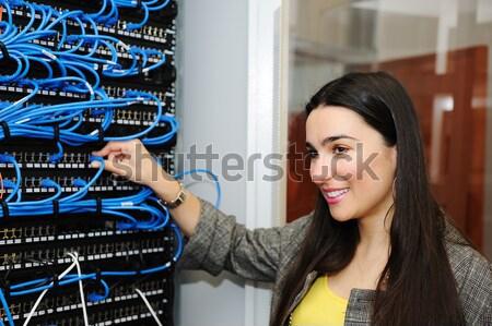 Kettő férfi női szerver szoba üzlet Stock fotó © zurijeta