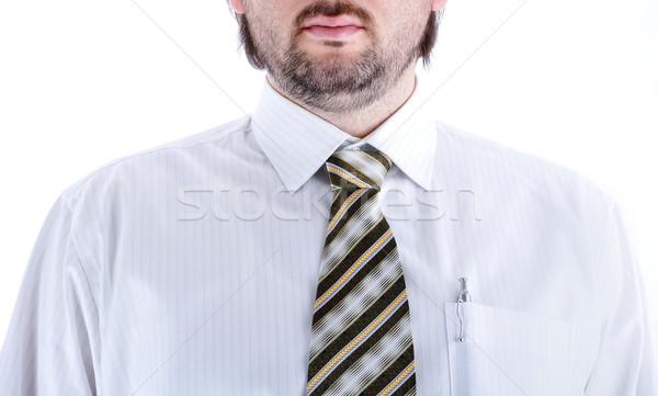 Foto stock: Empate · hombre · camisa · oficina · reunión · trabajo