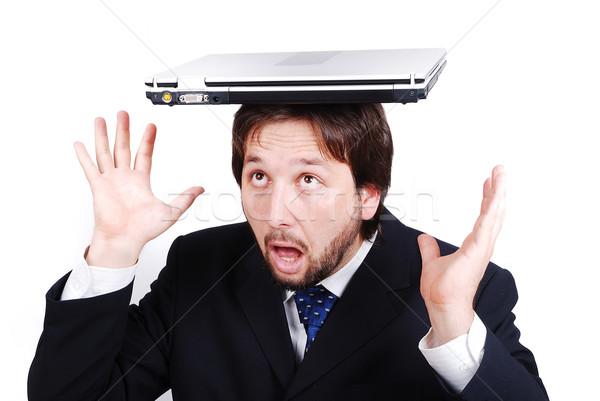 Fiatal férfi modell laptop fej üzlet számítógép Stock fotó © zurijeta