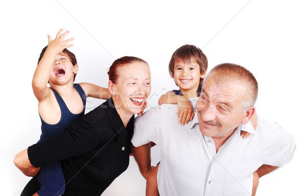 幸せな家族 4 白 笑顔 子供 愛 ストックフォト © zurijeta