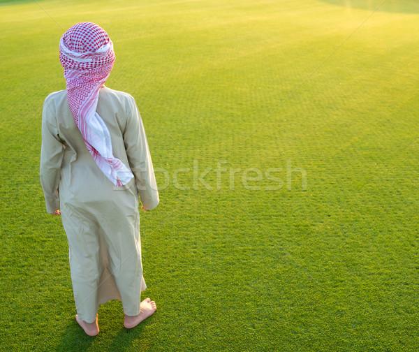 Arabski chłopca trawy łące moda charakter Zdjęcia stock © zurijeta