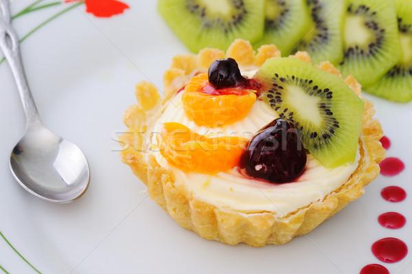 Delicioso bolo comida fruto chocolate fundo Foto stock © zurijeta