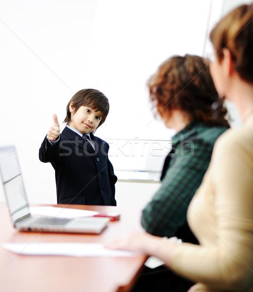 Genie kid business presentatie volwassenen Stockfoto © zurijeta