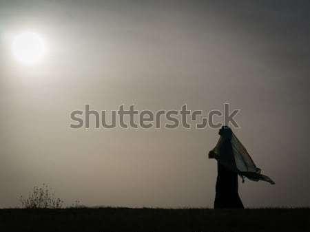 Kid standing on meadow alone Stock photo © zurijeta