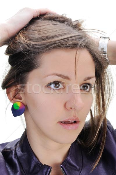Closeup of attractive girl posing over white background Stock photo © zurijeta