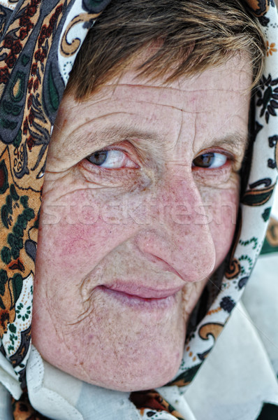 Eşarp kadın güzellik yaşlı ülke Stok fotoğraf © zurijeta