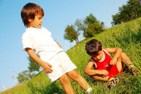 Little cute children on beautiful green field Stock photo © zurijeta