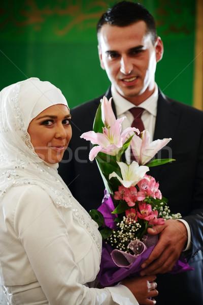 Mooie paar water bruiloft liefde Stockfoto © zurijeta