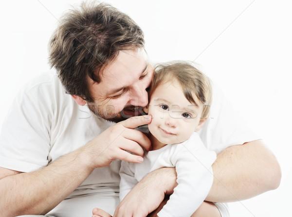 Boldog apa tart mosolyog aranyos baba Stock fotó © zurijeta