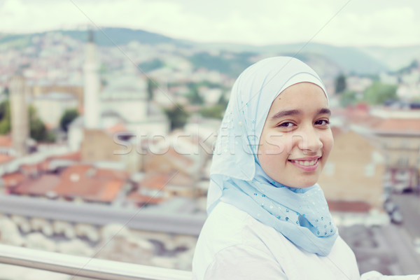 Beautiful muslim arabic girl in real life Stock photo © zurijeta