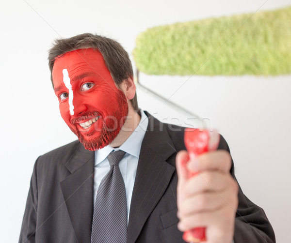 Man ready to brush and paint walls Stock photo © zurijeta