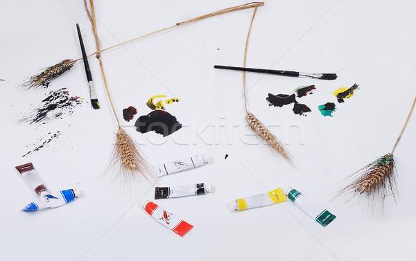 Stok fotoğraf: çocuklar · çalışmak · beyaz · kâğıt · yalıtılmış · çocuk