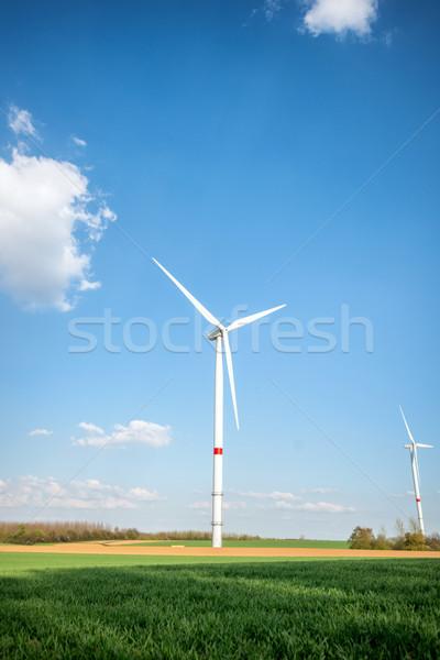 Windturbine boerderij gras natuur technologie groene Stockfoto © zurijeta