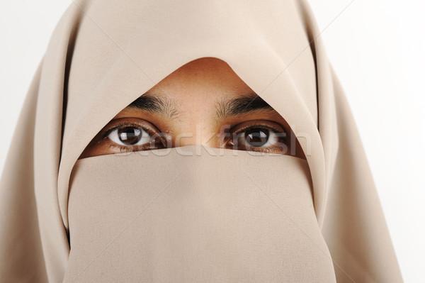 мусульманских женщину вуаль шарф девушки глаза Сток-фото © zurijeta