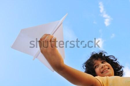 Stock photo: Happy child at harvest field