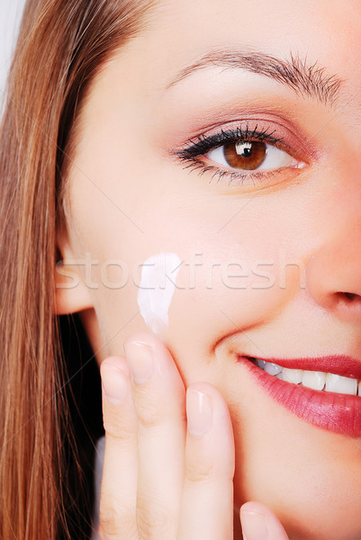 Adorable girl with make up on her cheek Stock photo © zurijeta