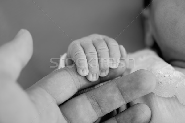 Pasgeboren baby hand handen familie kind Stockfoto © zurijeta