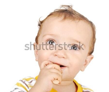 Piccolo ragazzo legno giocattoli alimentare baby Foto d'archivio © zurijeta