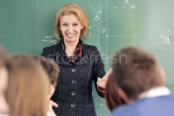 Smiling professor in a classroom Stock photo © zurijeta