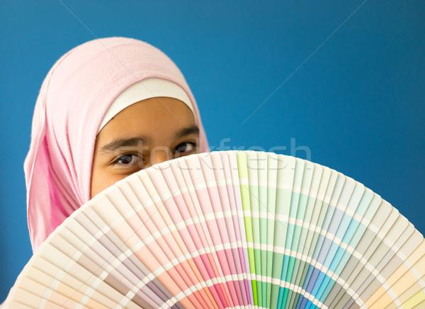 Arabic Muslim girl with painting colors patterns Stock photo © zurijeta