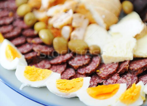 Sağlıklı sağlıksız gıda peynir akşam yemeği plaka et Stok fotoğraf © zurijeta