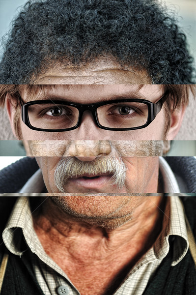 Human male face made of several different people, artistic concept collage Stock photo © zurijeta