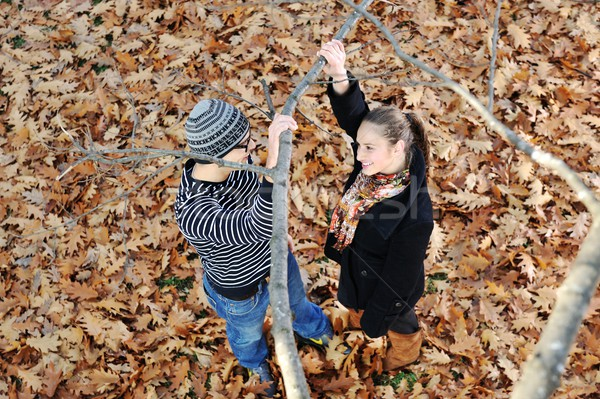 Romantic Teenage Couple By Tree In Autumn Park Stock photo © zurijeta