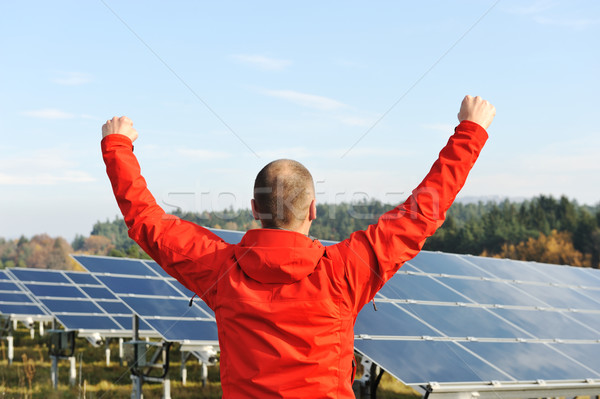 Success, engineer in solar panel fields with arms up Stock photo © zurijeta