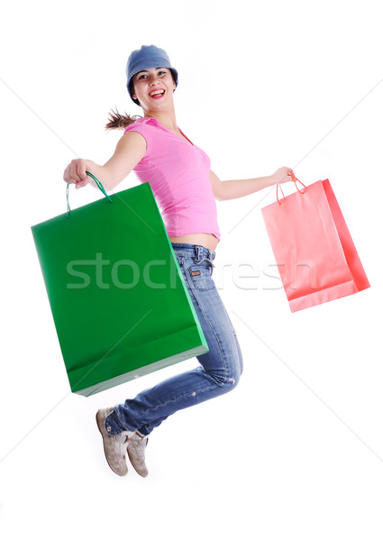 Beautiful sensual girl jumping in shopping Stock photo © zurijeta