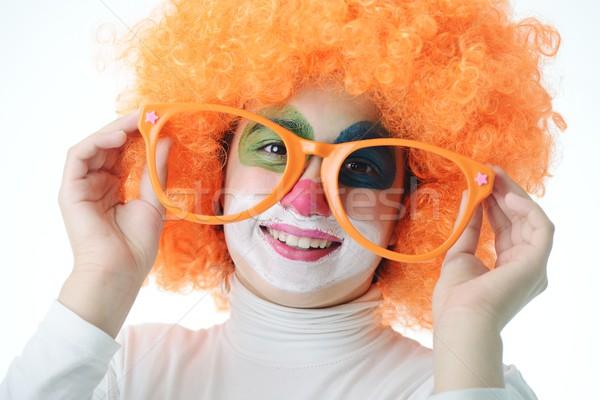 Cute funny clown biały portret Zdjęcia stock © zurijeta