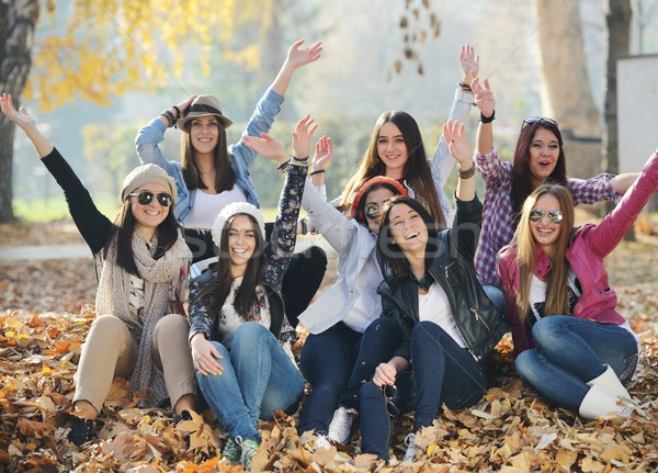 Group of young teenage girls together in nature stock